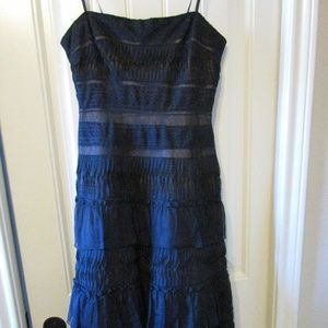 BCBGMaxAzria Black Strapless Midi Dress 6 Feathers